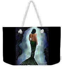 Weekender Tote Bag featuring the painting Merman Below by Leslie Allen