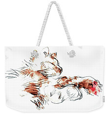 Weekender Tote Bag featuring the mixed media Merph Chillin' - Pet Portrait by Carolyn Weltman