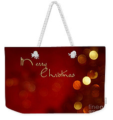 Merry Christmas Card - Bokeh Weekender Tote Bag by Aimelle