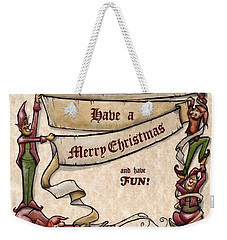 Merry Christmas Elves Weekender Tote Bag by Kevin Middleton
