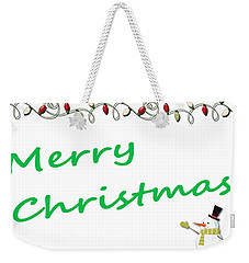Merry Christmas Little Snow Man On White 2 Weekender Tote Bag