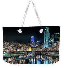 Weekender Tote Bag featuring the photograph Merry Christmas Omaha by Susan Rissi Tregoning