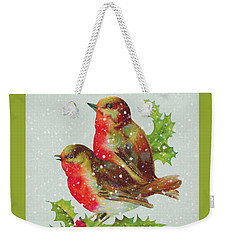 Merry Christmas Snowy Bird Couple Weekender Tote Bag by Sandi OReilly