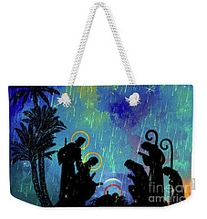 Weekender Tote Bag featuring the painting  Merry Christmas To All. by Andrzej Szczerski