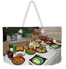 Merry Christmas- Traditional Lithuanian Christmas Eve Dinner Weekender Tote Bag by Ausra Huntington nee Paulauskaite