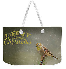 Merry Christmas Winter Goldfinch 1 Weekender Tote Bag