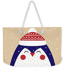 Weekender Tote Bag featuring the digital art Merry Christmas With Penguin by Christopher Meade