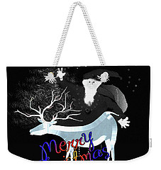 Weekender Tote Bag featuring the digital art Merry Old Santa by Asok Mukhopadhyay