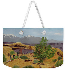 Weekender Tote Bag featuring the painting Mesa Arch by Linda Feinberg