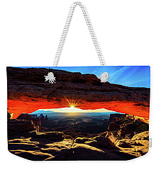 Weekender Tote Bag featuring the photograph Mesa Arch Sunrise by John Hight