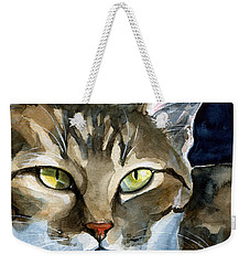 Mesmerizing Eyes - Tabby Cat Painting Weekender Tote Bag