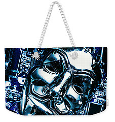 Metal Anonymous Mask On Motherboard Weekender Tote Bag by Jorgo Photography - Wall Art Gallery