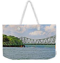 Metal Bridge Over A Lake Weekender Tote Bag