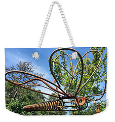 Metal Dragonfly Against The Sky Weekender Tote Bag