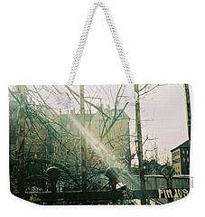 Metal Fence With Grafitti And Bridge Weekender Tote Bag