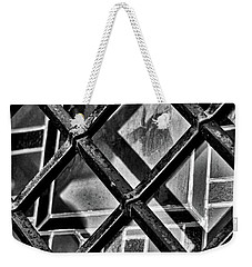 Metal Grid Over Stained Glass - La Recoleta Cemetery Weekender Tote Bag by Stuart Litoff