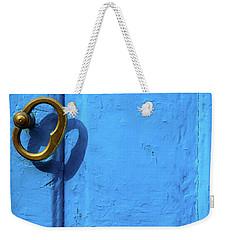 Metal Knob Blue Door Weekender Tote Bag by Prakash Ghai