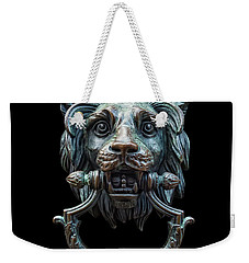 Weekender Tote Bag featuring the photograph Metal Lion Head Doorknocker Isolated Black by Antony McAulay
