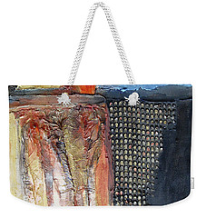 Metallic Fall With Blue Weekender Tote Bag by Phyllis Howard