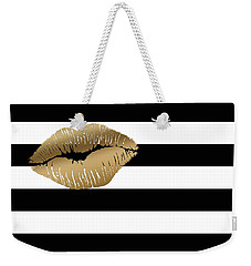 Metallic Gold Lips Black And White Stripes Weekender Tote Bag