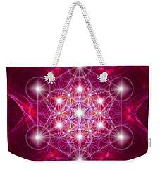 Weekender Tote Bag featuring the digital art Metatron Cube With Flower by Alexa Szlavics