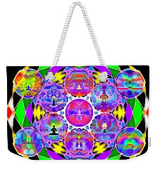 Weekender Tote Bag featuring the digital art Metatron's Cosmic Ascension by Derek Gedney