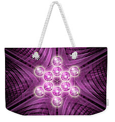 Weekender Tote Bag featuring the digital art Metatron's Cube Atomic by Alexa Szlavics