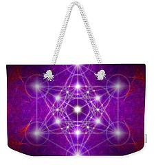 Weekender Tote Bag featuring the digital art Metatron's Cube Colors by Alexa Szlavics