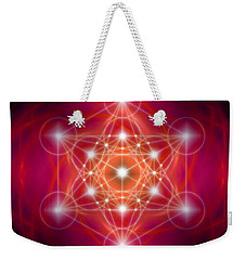 Weekender Tote Bag featuring the digital art Metatron's Cube Female Energy by Alexa Szlavics