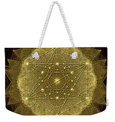 Weekender Tote Bag featuring the digital art Metatron's Cube Geometric by Alexa Szlavics