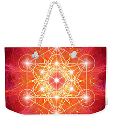 Weekender Tote Bag featuring the digital art Metatron's Cube Light by Alexa Szlavics
