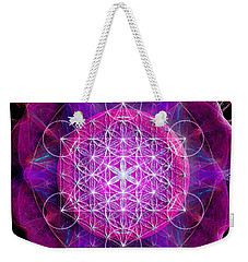 Metatron's Cube On Fractal Pletals Weekender Tote Bag