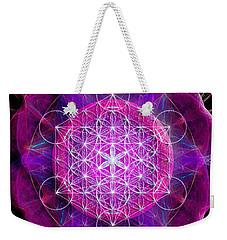 Weekender Tote Bag featuring the digital art Metatron's Cube On Fractal Pletals by Alexa Szlavics