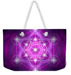 Weekender Tote Bag featuring the digital art Metatron's Cube Purple by Alexa Szlavics