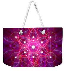 Weekender Tote Bag featuring the digital art Metatron's Cube Reflection by Alexa Szlavics