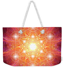 Weekender Tote Bag featuring the digital art Metatron's Cube Shiny by Alexa Szlavics