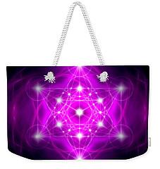 Weekender Tote Bag featuring the digital art Metatron's Cube Vibration by Alexa Szlavics