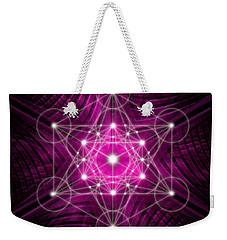 Weekender Tote Bag featuring the digital art Metatron's Cube Waves by Alexa Szlavics