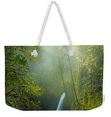 Weekender Tote Bag featuring the photograph Metlako Falls Dressed In Fog by Patricia Davidson