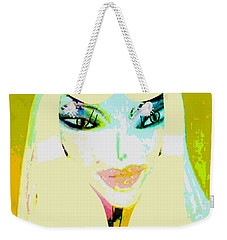 Weekender Tote Bag featuring the mixed media Mia 2 by Ann Calvo