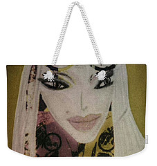 Weekender Tote Bag featuring the mixed media Mia by Ann Calvo