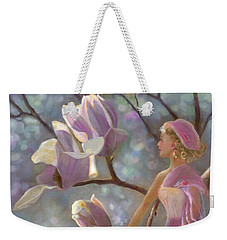 Weekender Tote Bag featuring the painting Mia Magnolia Fairy by Nancy Lee Moran