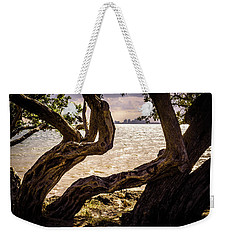 Miami At A Distance Weekender Tote Bag by Camille Lopez