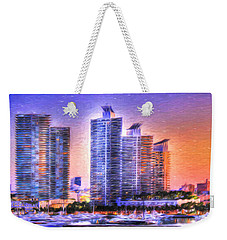 Weekender Tote Bag featuring the photograph Miami Skyline Sunrise by Shelley Neff