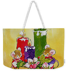 Mice With Candles Weekender Tote Bag by Diane Matthes