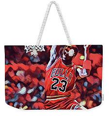 Weekender Tote Bag featuring the painting Michael Jordan Slam Dunk by Dan Sproul