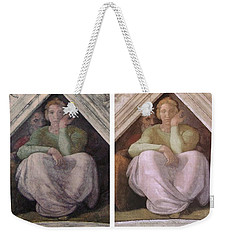 Restoration Before And After Michelangelo Ancestors Sistine Chapel  Weekender Tote Bag by Suzanne Powers