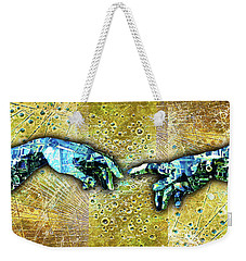 Weekender Tote Bag featuring the mixed media Michelangelo's Creation Of Man by Tony Rubino