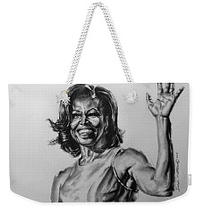 Weekender Tote Bag featuring the painting  Michelle Obama  by Darryl Matthews