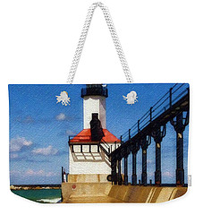 Weekender Tote Bag featuring the photograph Michigan City Light 1 by Sandy MacGowan